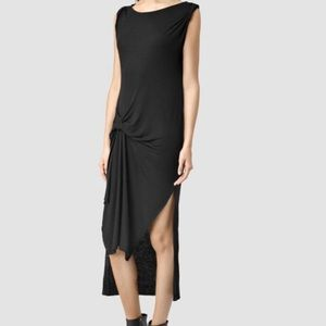 AllSaints Riviera Tavi asymmetrical dress in gray